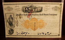 New York and Harlem R R Stock Certificate Signed by William H. Vanderbilt 1873