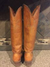 """Womens ACME Sz 6.5M Camel Brown Tall Leather Cowboy Boots 2.5"""" Heels"""