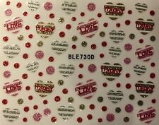 Nail Art 3D Decal Glitter Stickers Hearts Love Valentine's Day BLE730D