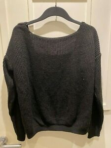 Boohoo Oversized Off The Shoulder Backless Black Knitted Jumper M 12