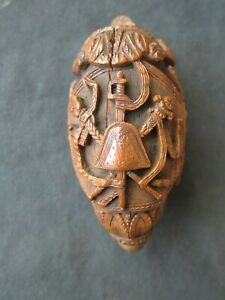 19th Century carved Napoleonic coroso nut, prisoners of war