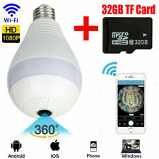HD 1080P 360° Panoramic Hidden Wifi IP Camera Light Bulb Security Lamp+32GB Card