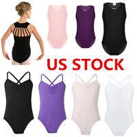 US Girls Kids Gymnastics Ballet Leotard Dance Dress Tank Top Bodysuit Dancewear