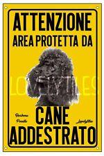BARBONE POODLE AREA PROTETTA TARGA ATTENTI AL CANE CARTELLO PVC GIALLO