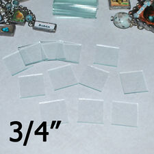 (30 pack) 3/4 x 3/4 inch Square Clear Pendant Glass for Jewelry Solder Art 2mm