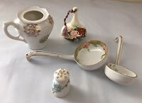 5 Piece Mixed Lot of Ceramic Pieces Nippon salt shaker Laddles and ceramic bell