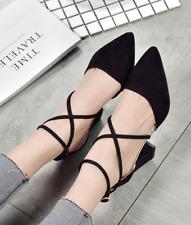 Women Summer Block Heel Pointed Toe High Casual Ankle Strap Wedding Ladies Heels