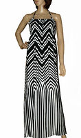 NEW MARKS AND SPENCER  BLACK WHITE HALTER NECK ZIG ZAG PRINT MAXI SUMMER DRESS