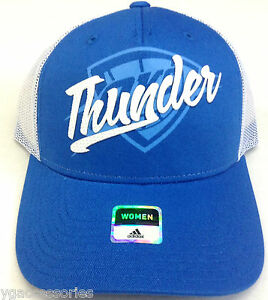 NBA Oklahoma City Thunder Adidas Adult Half Mesh Adjustable Rubber Logo Cap NEW