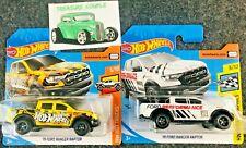 Hot Wheel - Lot of 2 - FORD '19 RANGER RAPTOR - Short Cards - White / Yellow E51