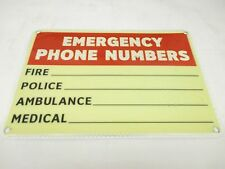 EMERGENCY PHONE NUMBERS Sign, 7 x 10In, BK and R/WHT, ENG 1 PC (FS1321)