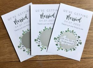 Set Of 3 Personalised Will You Be My Bridesmaid Maid Of Honour Scratch Card