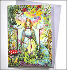 Goddess card, drawn and printed in the UK, birthday, blank greetings bellydance