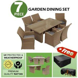 7Pc Rattan Hand Weaved Outdoor Indoor Furniture Sofa Set Dinning Lounge Garden