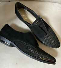 New Fergie Oxfords In Perforated Black Suede 8.5