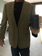 Hickey Freeman Sports Coat Jacket Collection Mens Plaid 100% Wool Brown 41 Long