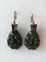 Antique Victorian Whitby Jet Carved Black Mourning Black Drop Dangle earrings