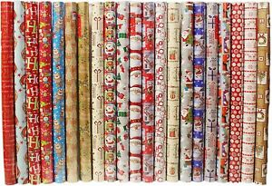 40M (4 x 10M) CHRISTMAS WRAPPING PAPER ROLLS Traditional Cute Design Xmas Gift