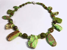 """Genuine SONORA SUNRISE Green Red Turquoise Necklace Sterling 150 Grams 21"""" Long"""