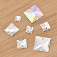 AB White Sew On Square Glass Rhinestones Crystal Stone Sewing Flatback Supplies