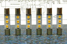 6 X WARM WHITE Fuse Lamps for KENWOOD KT-7001 Receiver Restore Parts