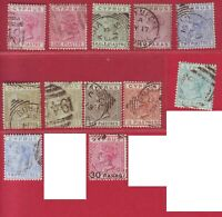 R* GB CYPRUS LOT 12 V. QUEEN VICTORIA 1883-1892 USED Mi. Nr. 3-22 RARE