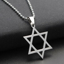 Titanium Steel Hexagram Pendant Star of David Necklace Silver Plated Chain Gifts