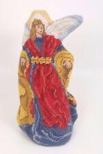 Vtg Lillian Vernon Needlepoint Angel Christmas Tree Topper Embroidered Wool