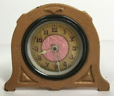 Lux Shelf Clock Gold and Pink Fancy Foil Dial 1928