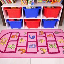 Bright Pink Fun Playtime Hopscotch Girls Mat Non Slip Children's Rug Cheap Mats