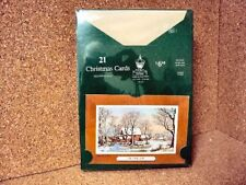 """Currier & Ives Vintage Christmas Cards """"The Old Mill""""  21 pcs  sealed Package"""