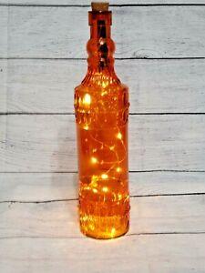 """Large 12"""" Orange Glass Round Base Bottle with Cork & LED Lights"""