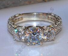 2.00ct White D/VVS1 Diamond Three Stone Engagement Ring 14k White Gold Over