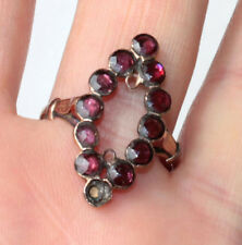BAGUE NAVETTE MARQUISE ANCIENNE EN OR ROSE et RUBIS taille 61 vintage