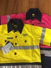 2x Kids Hi Vis Drill Shirt Embroidered With A Name