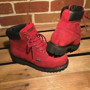 SAFETY WORK LADIES UNISEX BOOTS LACE UP STEEL CAP RED INDUSTRIAL GIRLS FUNKY