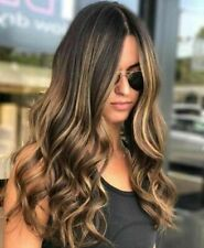 Gold Ombre Lace Long Wavy Curly Blonde Wig Women's Synthetic Hair Rose Net