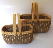 Vintage Oval Shape Woven Solid Wood Wicker Basket With Handles 2-Piece Set