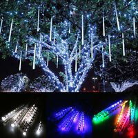 30cm/50cm LED Lights Meteor Shower Rain 8Tube Xmas Tree Outdoor Light US EU Plug