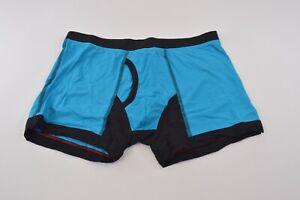 VK Nagrani NWT Luxury Men's Boxer Briefs UV01 in Turq w/Black Trim Cotton XXL