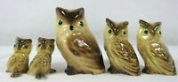 Vintage Hagen Renaker 5 Brown Horned Owls Mama Baby Ceramic Miniature Figurines