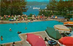 Lake Arrowhead California Lakeside Swimming Pool Lodge 1950s Postcard Teich 6359