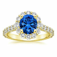 Fine 2.21ct Real Diamond Gemstone Ring Solid 14k Yellow Gold Band Size O P N K