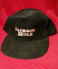Vtg. Jackson Hole Ski Trucker Hat Black Corduroy Snapback Hat Hipster Ski EUC