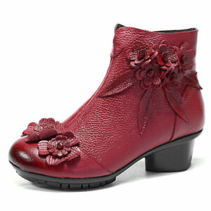 SOCOFY Women Winter Ankle Floral Zipper Leather Boots Block Flower Casual  *