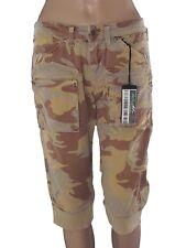 Donna Metallico dell/'esercito mimetica Lucido Elasticizzato Pantaloncini Discoteca Party Legging Pantalone