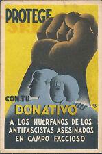Mint Spain Civil War Postcard Donations for Orphans of Anti Fascists