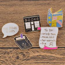 5 Pcs Pop Enamel Brooch Pin Book Bookstore Collar Pins for Shirt Blouse Dress