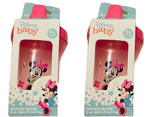 👼🏻NIB Set Of 2 Disney Baby Minnie Mouse 8oz Spill proof cup, 6 mos No BPA Pink