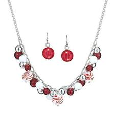 New Avon Peppermint Party Necklace And Earring Set holiday Christmas